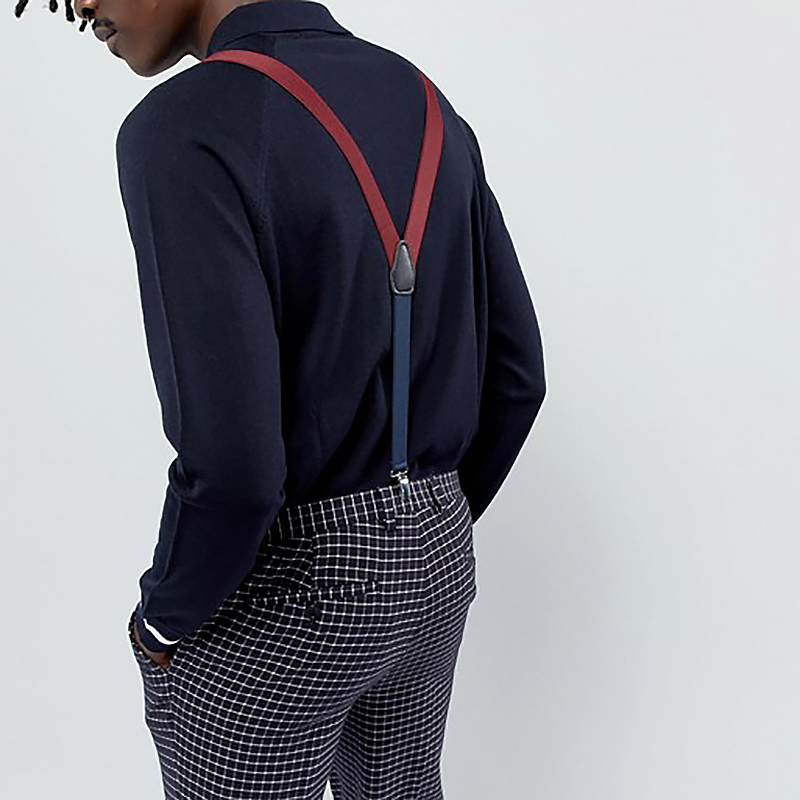 YBMB Suspenders Unisex Adult Two color combibraces Y shape 3Clips 2.5CM Adjustable Durable Elastic Belts Straps Braces