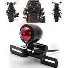 1 шт. 12 В 10 Вт Мотоцикл Хвост Стоп лицензии тормоза лампа для Harley Chopper su A24, мотоцикл черный Ретро хвост свет лампы