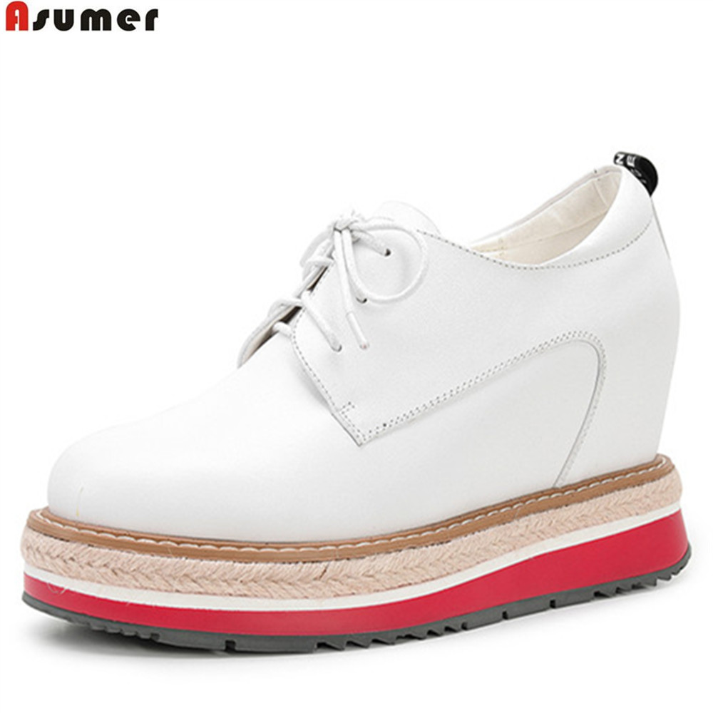 ASUMER black white fashion ladies spring autumn shoes lace platform wedges high heels shoes women genuine leather shoes elevator 2015 autumn single shoes women s black genuine leather wedges casual shoes dawdler women s platform shoes
