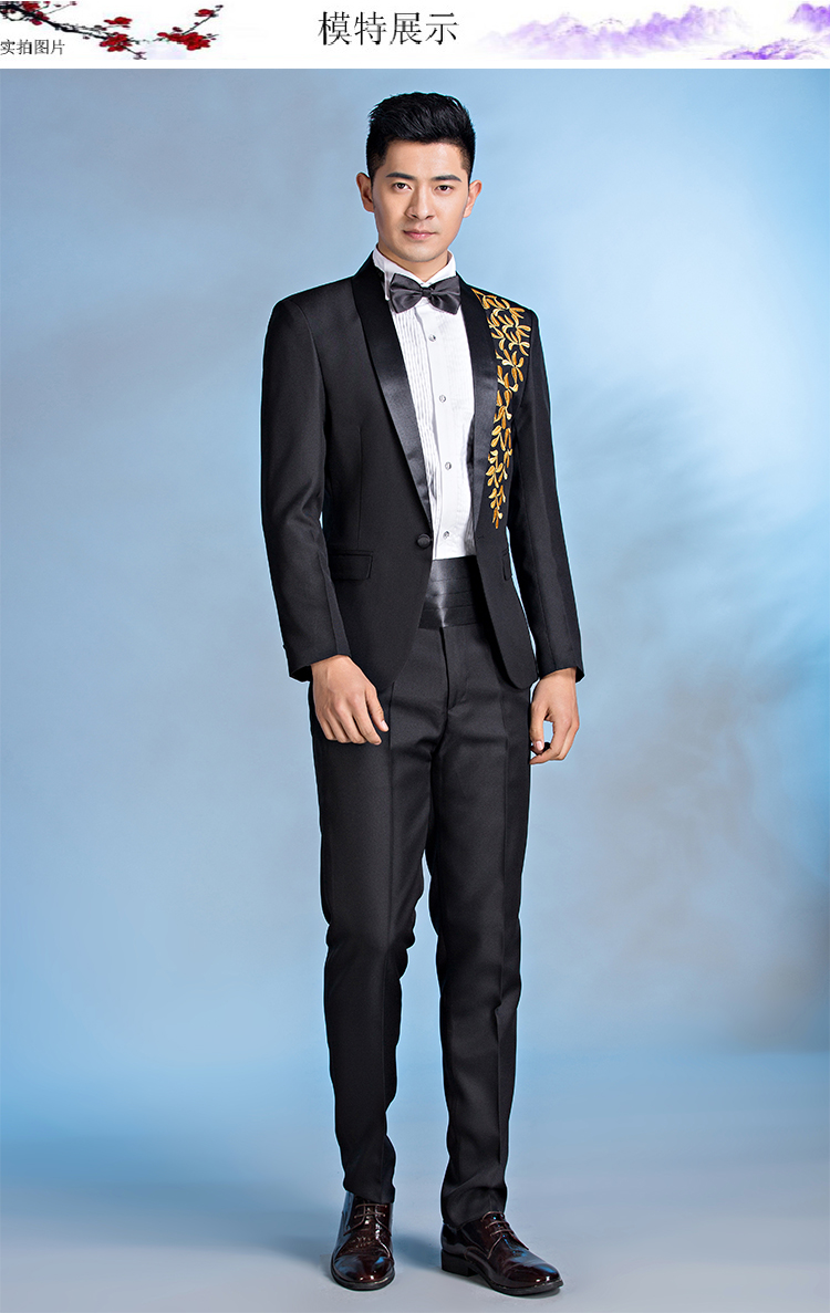 New man dress groom wedding suit mens singer host masterpiece ...
