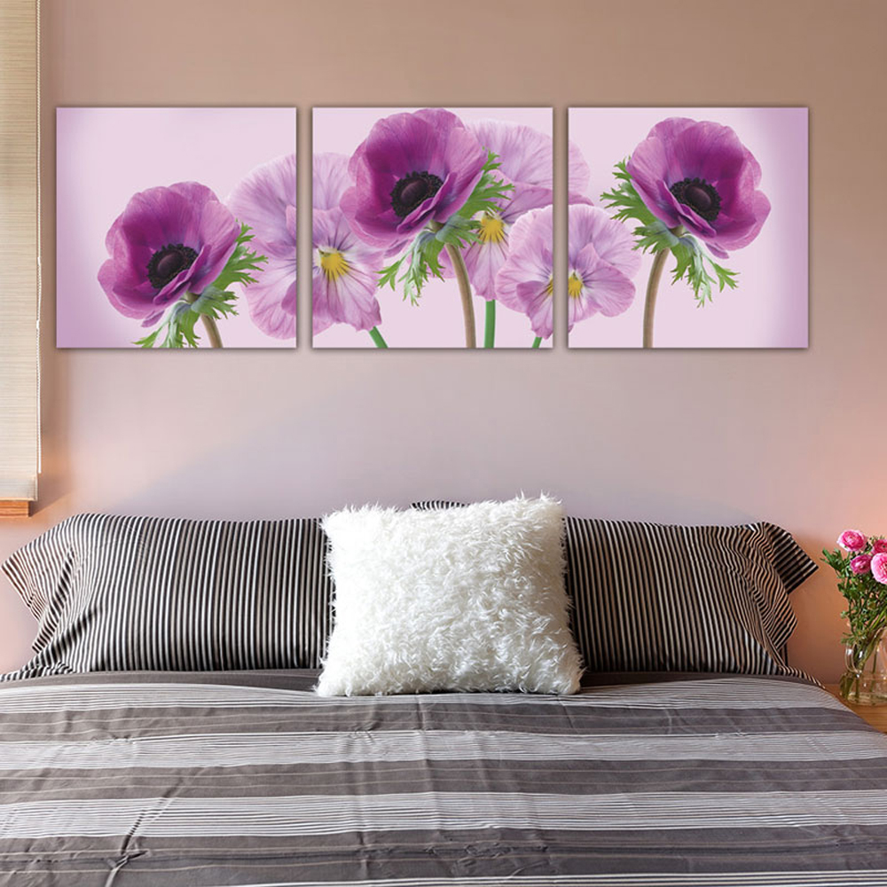 Kitchen Print Kitchen Wall Art Purple Kitchen Decor Gratitude: 3 Piece Modern Abstract Purple Flower Kitchen Photo Canvas