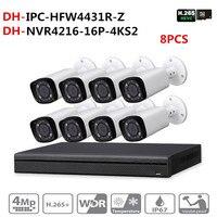DH Security CCTV Camera Kit original NVR NVR4216 16P 4KS2 16POE 4K & 8pcs OEM IP Camera Zoom IPC HFW4431R Z Surveillance System