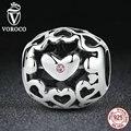 Voroco 925 plata esterlina perlas romántico rosa amor corazón encantos fit pandora originales pulseras mujer joyería de la manera diy c109