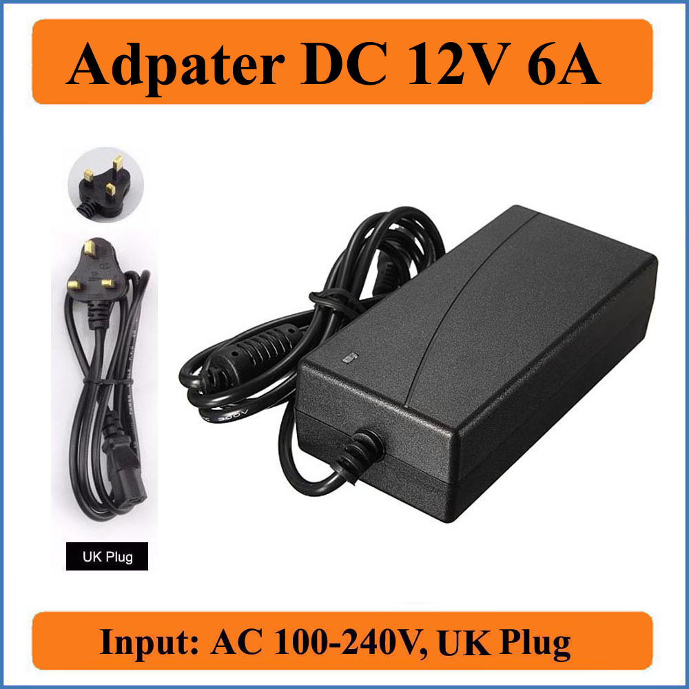 12V 6A UK Plug AC/DC Adapter AC100-240V to DC 12V Power Supply Charger 5.5mmx2.1mm for LED strip light/LCD Monitors/CCTV Camera