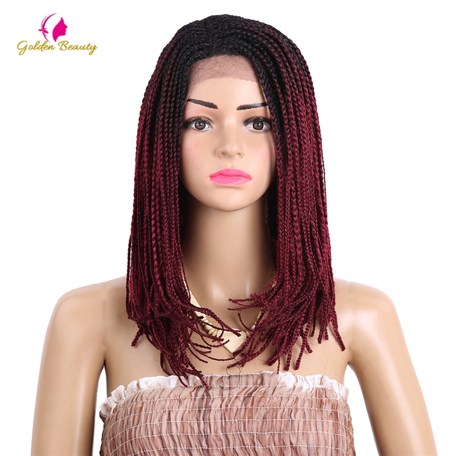 Golden Beauty 16inch Box Braid Bob Wig With Baby Hair Braided Synthetic Lace Front Wigs For