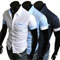 2017 Camisas Dos Homens Marca de Moda Mens Camisas de Vestido de Manga Curta Slim Fit Camisa do Negócio do Algodão Dos Homens de Negócios Camisa Chemise Homme