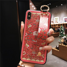 Vintage 3D Printed Cover with Strap for iPhone XR X XS MAX Case Foldable Holder 7 8 plus 6 6s Bohemia