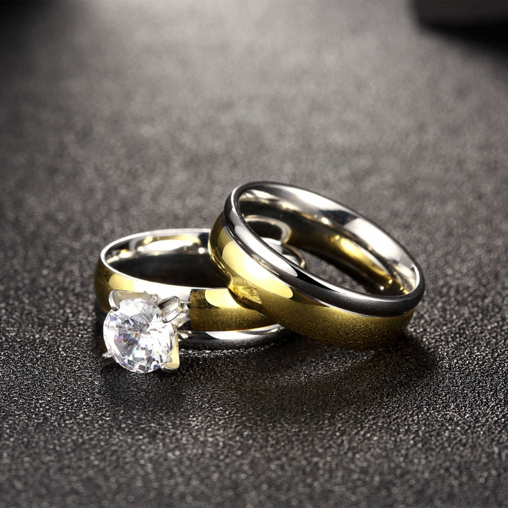 Titanium Steel Ring Luxurious Atmosphere Zircon Couple Rings High Quality  Hypoallergenic Stainless Steel Ring New Fashion