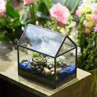 Geometric Black Copper House Shape Small Terrarium Planter Flower Pot Vase Succulent Plant Garden Decoration Glass Terrarium
