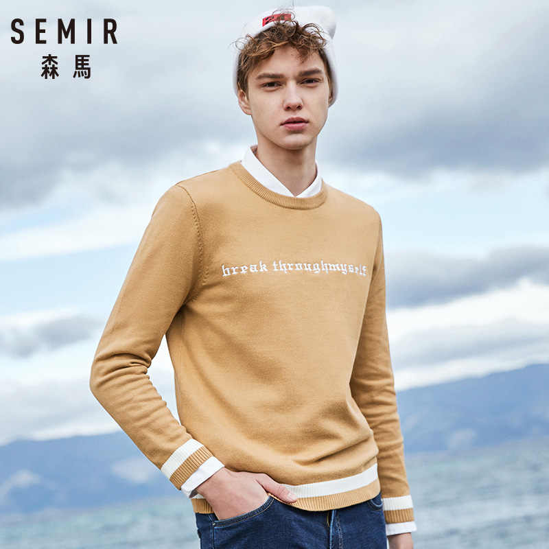 SEMIR Sweater Men 2018 autumn New Slim Fit Solid Knitted Sweaters Male Plus Size Pullovers Brand Clothing