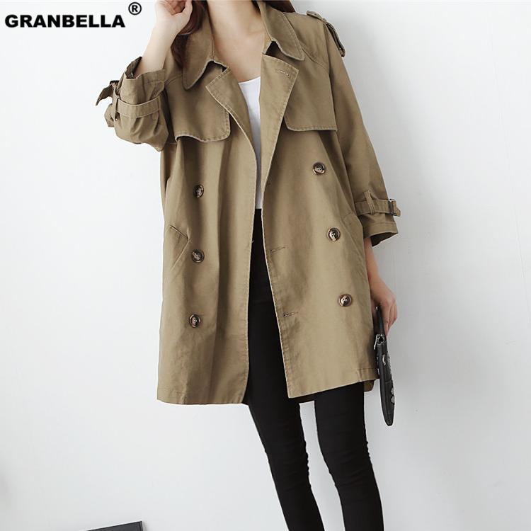 Classical double breasted dark khaki color   trench   coat for women 2019 Korea and Japan style Turn-down Collar Mid Overcoat