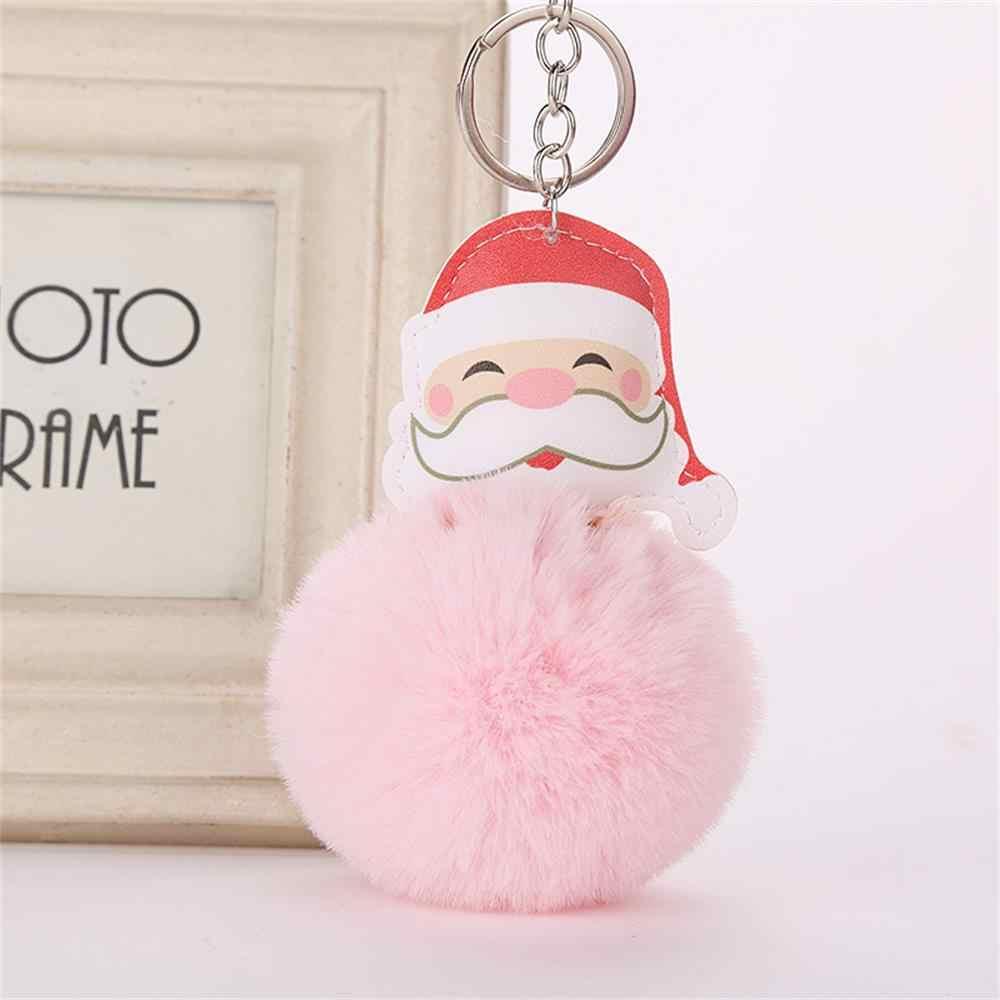 Меховой помпон Санта Клаус брелок из искусственного меха кролика пушистый меховой шар Брелоки для ключей женский автомобильный мешок брелок кольцо Рождественский подарок