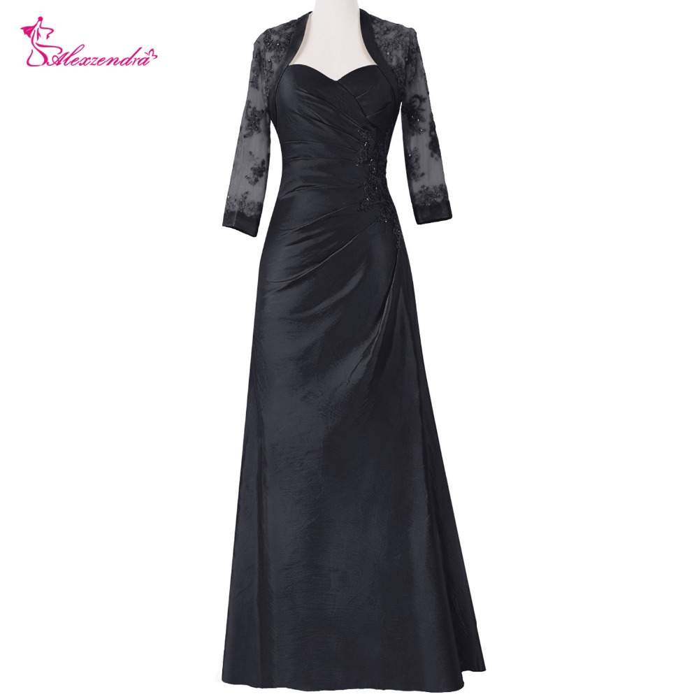 Alexzendra Black Mermaid Mother Of Bride Dress With Jacket Sweetheart Long Evening Gowns Custom Made