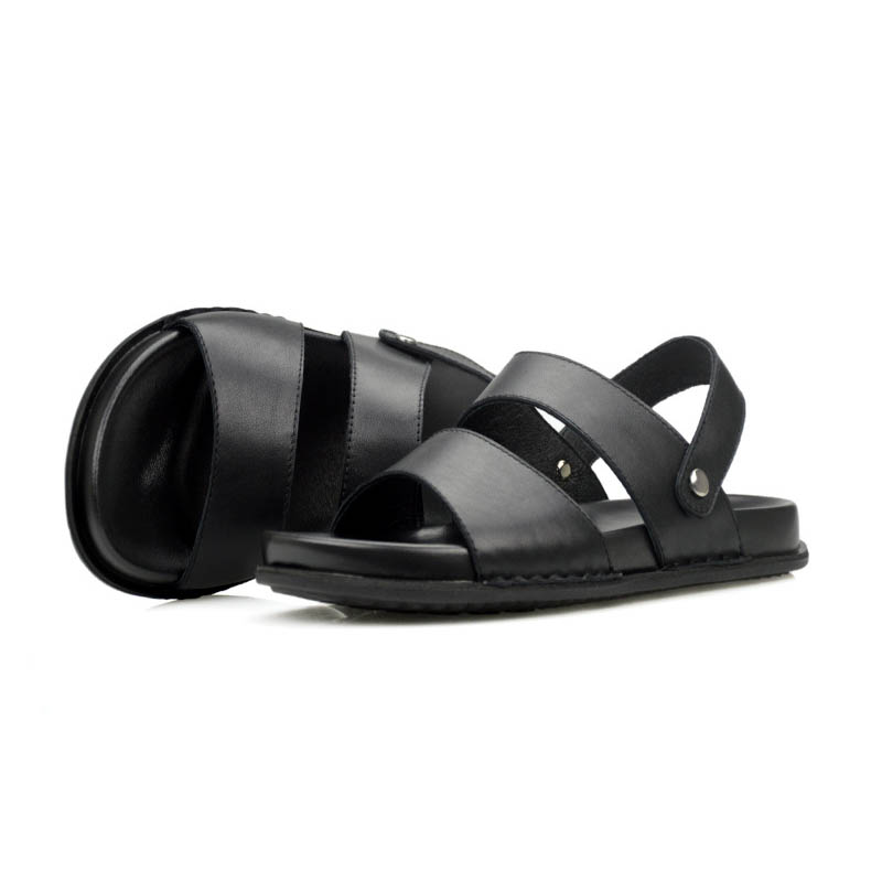 2019 Sandália Homens De Moda Alta Masculinos Tamanho Fivela Genuíno Nova Praia Grosso Couro Grande Casuais Deslizamento Inferior Em Qualidade Sapatos Black Plana rxqtrvA