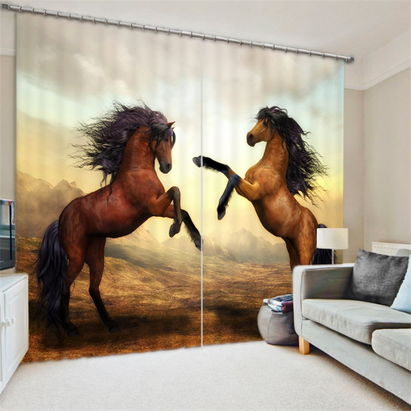 3d Animal Print Horse Curtains Backdrop Fabric Living Room Bedroom Dormitory Office Window Decoration Modern Blackout Drapes