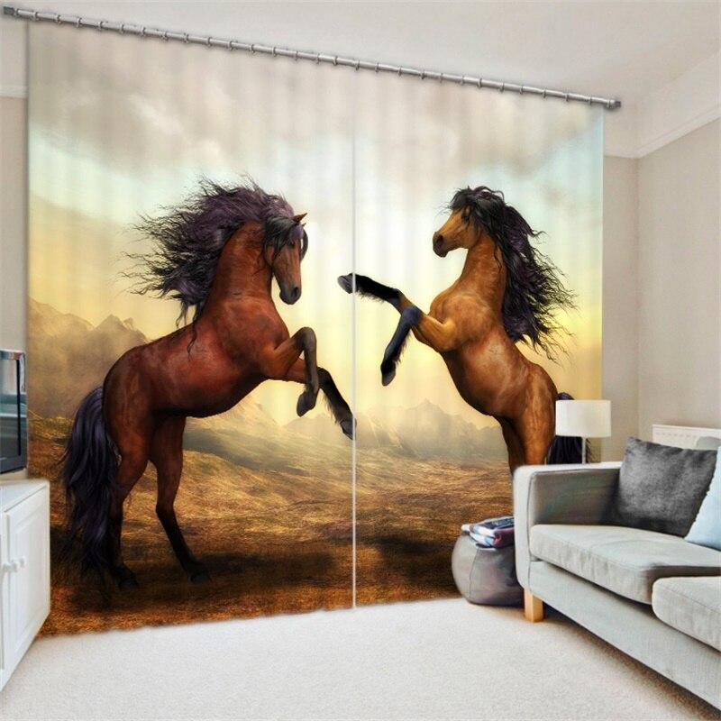 3d Animal imprimé cheval rideaux toile de fond tissu salon chambre dortoir bureau fenêtre décoration moderne rideaux occultants