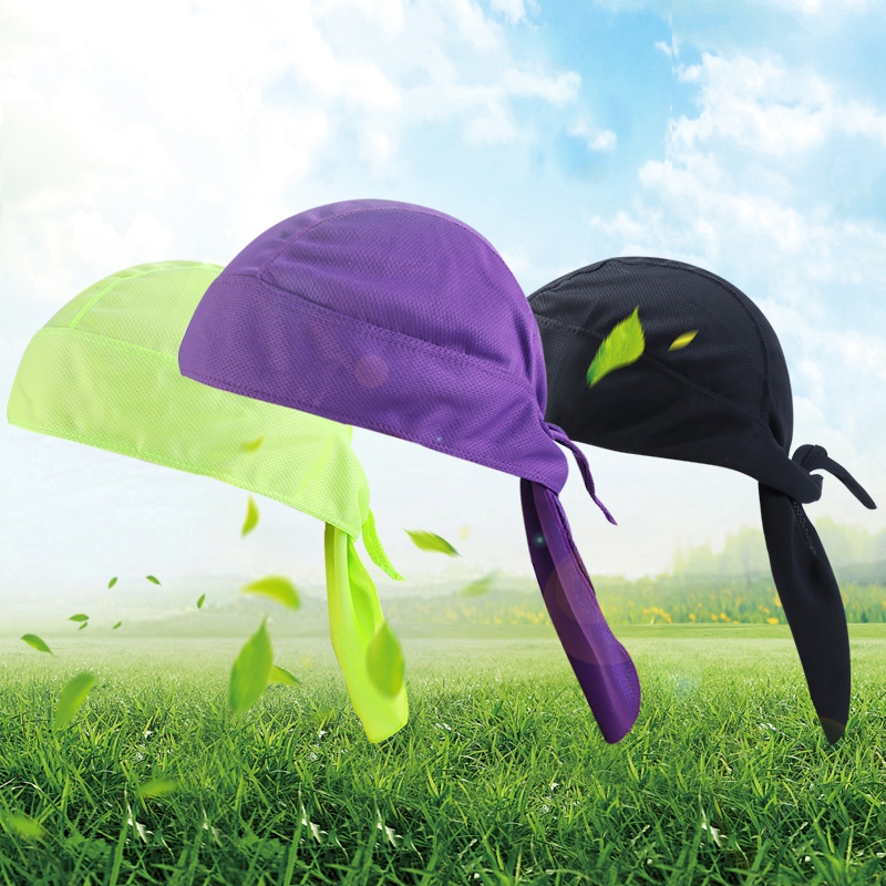 Bicycle Outdoor Cycling Cap Pirate Hat Breathable Headband Solid Color quick-drying Wicking Sunscreen Sports Hood 11 Colors