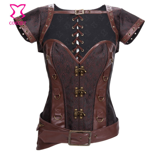 Brown Broacde & Faux Leather Waist Slimming Corsets Steel Boned Overbust Corset Steampunk Jacket&Belt Burlesque Gothic Clothing