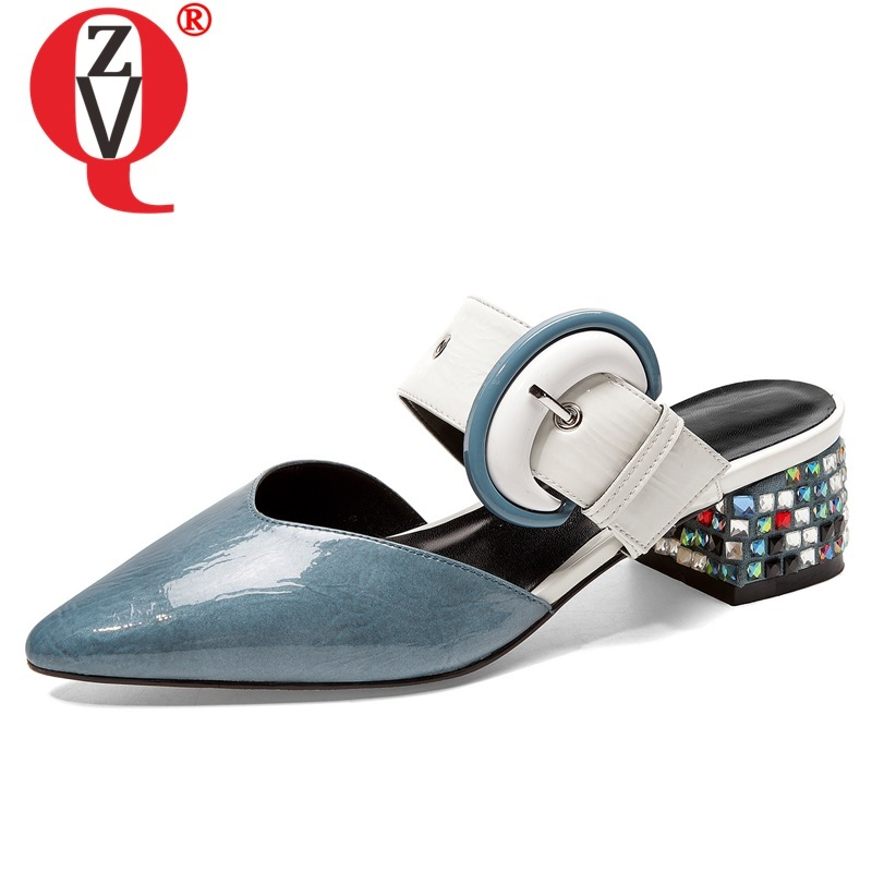 ZVQ shoes woman summer new fashion sexy pointed toe genuine leather woman slippers outside med square heels crystal ladies shoesZVQ shoes woman summer new fashion sexy pointed toe genuine leather woman slippers outside med square heels crystal ladies shoes