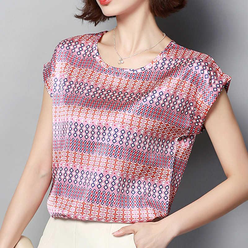 女性のトップスやブラウス 2019 夏の新ファッションプリントシルクブラウス半袖 blusas femininas エレガンテプラスサイズのシャツ 3212 50
