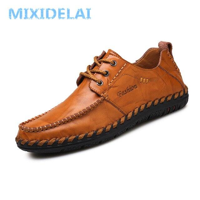 MIXIDELAI nuevos hombres zapatos de lujo marca hombres zapatos moda Casual zapatos hombres zapatos de cuero zapatos planos de cuero de diseño