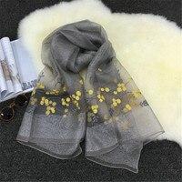Mu102 Silk 2017 New Style Muslim Silk Long Scarf Hijabs 10 Pcs Per Lot Embroidery Big