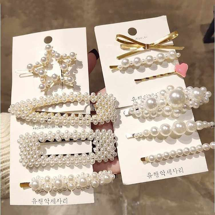 Hair Barrettes for Women Hair Clips Korea Simulated Pearl Beaded Hairgrips Hair Accessories Girls Jewelry Fashion Hair Pins