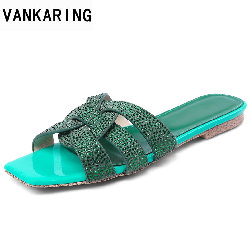 VANKARING women sandals new 2018 fashion sheepskin flat shoes rhinestone pink slipper ladies casual flat heel woman date shoes 2018 new bohemian women sandals crystal flat heel slipper rhinestone chain women casual beach shoes size 34 44