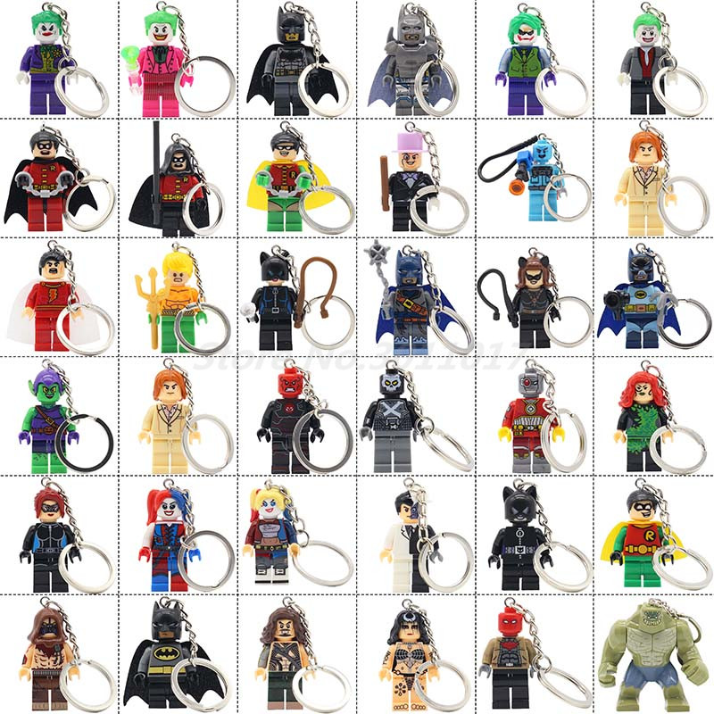 POGO Batman Keychain Action Figure Single Sale DC Movie Harley Quinn Catwoman Joker Robin Catwoman Building Blocks Toys Gifts all characters tracer reaper widowmaker action figure ow game keychain pendant key accessories ltx1