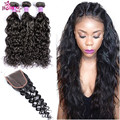 Grace Hair Company 7a Unprocessed Brazilian Waterwave human Hair With Closure 3 Bundles With Closure Annabelle Hair With Closure