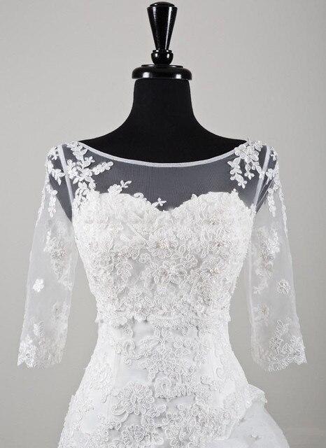 2016 New Arrival 3/4 Lace Jaqueta de Manga Casamento vestido de Noiva Open V-back Barato Elegante Acessórios Do Casamento Sheer Neck