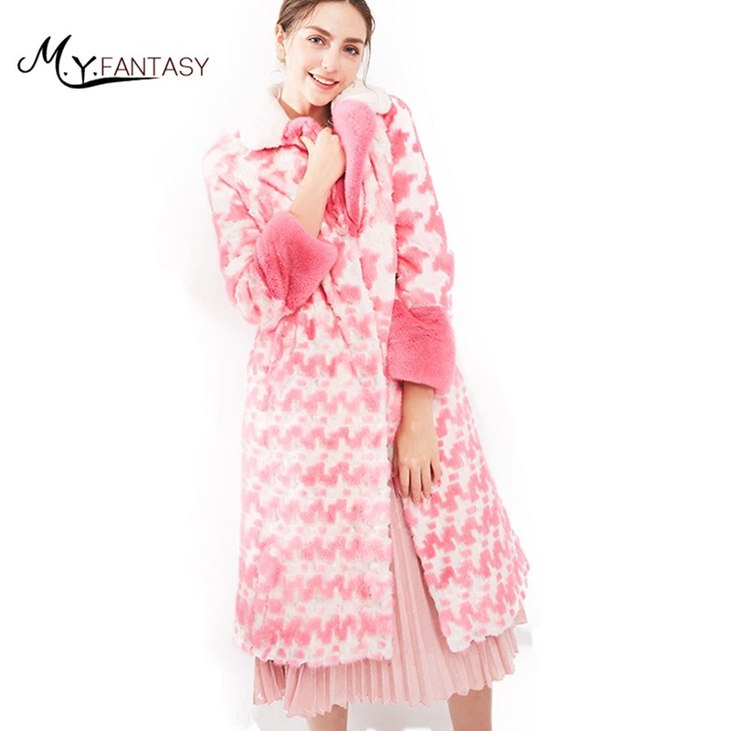 M. y. FANSTY 2019 Del Fiore Della Stampa delle Donne di Inverno di Importazione Corona Livello Cigno Velluto Visone Cappotto di Pelliccia Reale Colorato X-Lungo rosa Cappotti di Visone