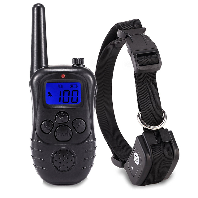 New 300M Remote Electronic Dog Training Collars With LCD Blue Screen Display Rechargeable 100 Levels Pet Electronic Dog Collars 2
