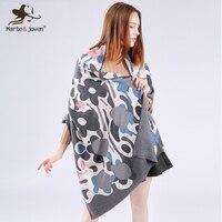 Marte Joven Fashion Flower Printed Women Imitation Cashmere Scarves Pashmina Hot Sale Soft Warm Winter