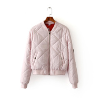 Women Bomber Jacket Quilting Quilted Jacket Short Thin Padded Side Zipper Sleeve Coat Pilots V Neck