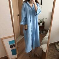 Summer Women Maxi Tshirt Dress Vestidos Women's Solid Button Long Sleeve TShirt Dress Female Casual Dress