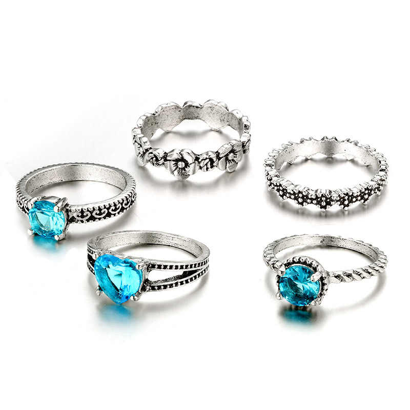 1 Set Ozean Blau Vintage Knuckle Ringe für Frauen Boho Geometrische Blume Kristall Ring Set Böhmischen Finger Schmuck
