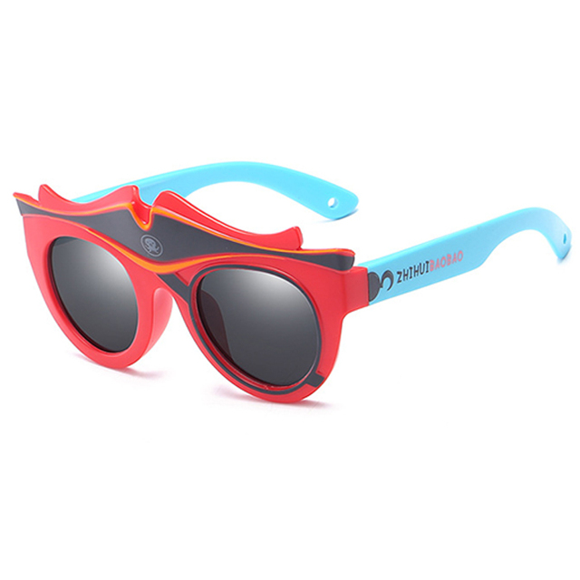 Fashion Kids Polarized Sunglasses Brand Cartoon Sun Glasses Boys & Girls Baby Suitable For Children Aged 3-10 Silicone Frame