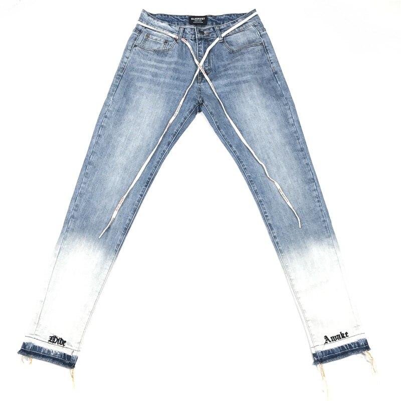 23d4f73e89f Обтягивающие рваные джинсы надписи вышитые джинсовые брюки Для мужчин  Drawstring байкерские джинсы уличной