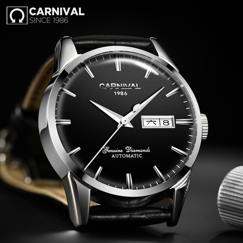CARNIVAL Men 39 s Self Wind Luxury Mechanical Watches Water Resistant Automatic Classic Leather Wrist Watche Men Reloj Hombre in Mechanical Watches from Watches