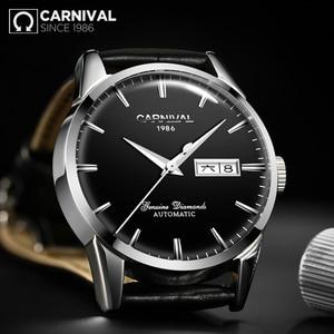 Image 3 - KARNAVAL erkek Öz rüzgar Lüks mekanik saatler Suya Dayanıklı Otomatik Klasik Deri Bilek İzle Erkekler Reloj Hombre