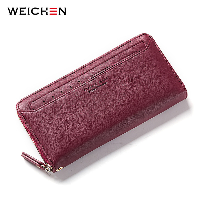WEICHEN Zipper Clutch Wallets for Women Coin Purses Card Holder Phone Pocket Long Purse Fashion Female Wallet Carteira simline fashion genuine leather real cowhide women lady short slim wallet wallets purse card holder zipper coin pocket ladies