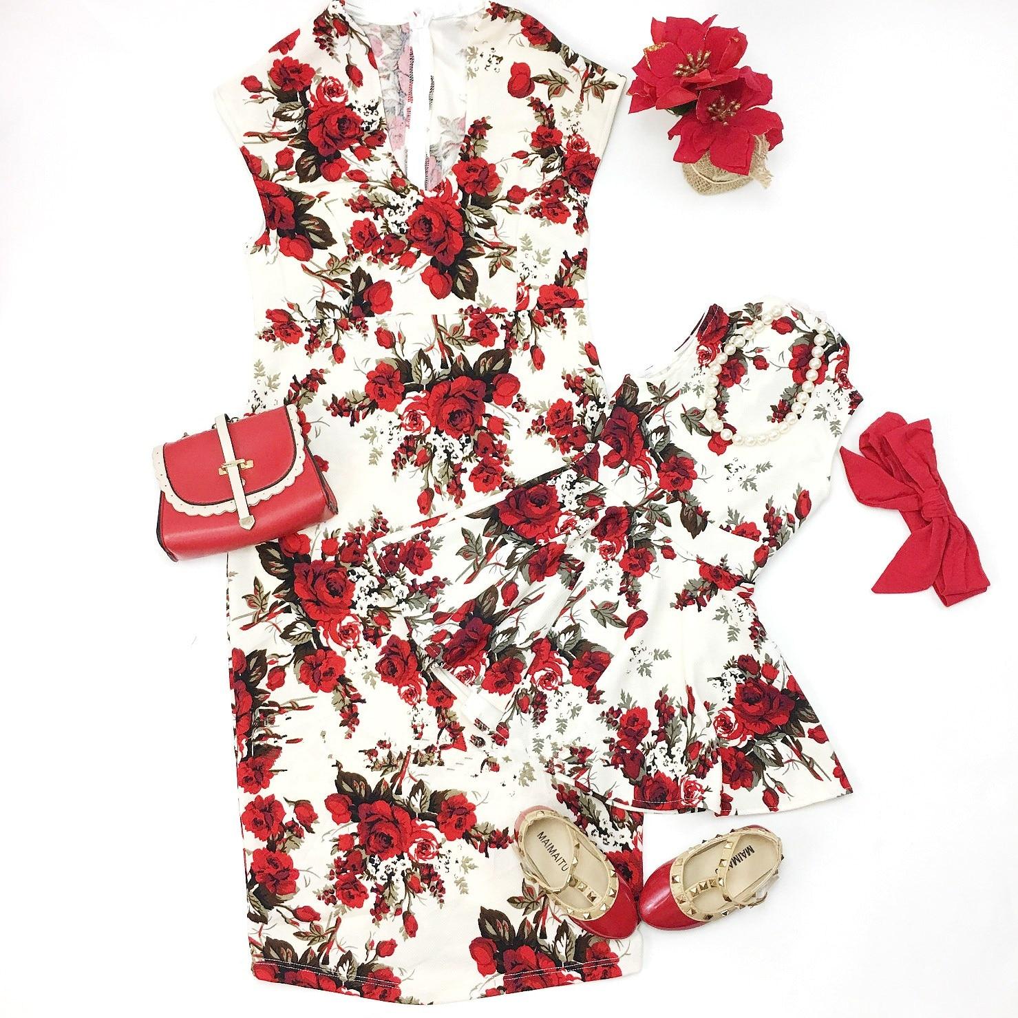 Fashion Mother Daughter Rose Flora Chinese Style Elegant Dress