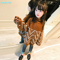Girl sweater autumn 2018 new children's little girl autumn and winter thick high necked long sleeved sweater shirt