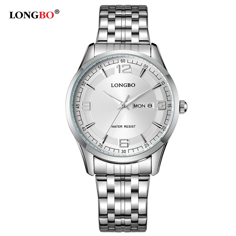 LongBo Fashion Couples Wristwatches Men/Women Luxury Brand Full Steel Lovers Women Dress Watch Relogios Couple Quartz Watches