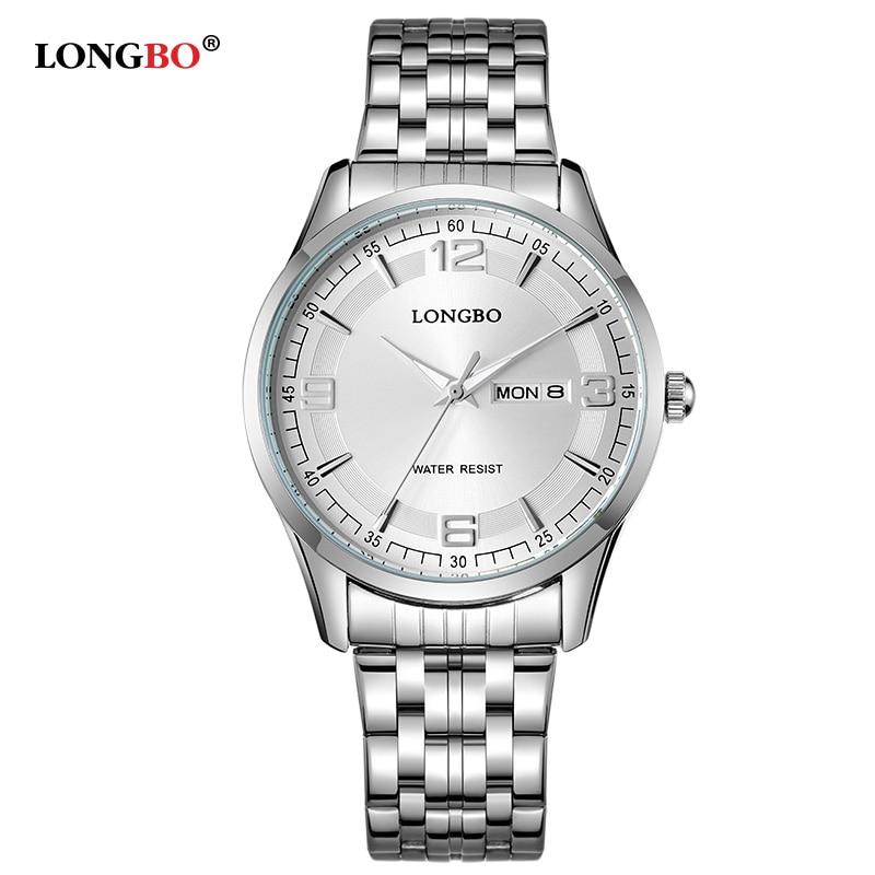 LongBo Fashion Couples Wristwatches Men/Women Luxury Brand Full Steel Lovers Women Dress Watch Relogios Couple Quartz Watches