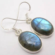 Chanti International Argent Naturel BLEU LABRADORITE FLASH Gros Boucles D'oreilles Étincelantes 3.3 cm(China)