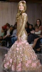 Image 3 - La estrella de mar flower girl dresses new O neck back open long sleeve sexy mermaid gold sequins pageant dresses for girls