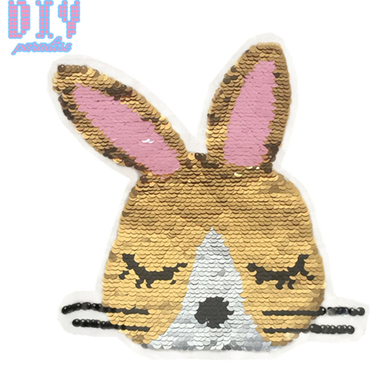 50pcs NEW Rabbit Reverse Sequins Sew On Patches for clothes Kids T Shirt Change color Embroidered