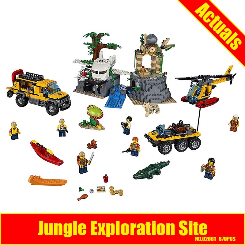 Lepin 02061 City Jungle Exploration Block Set Helicopter Amphibious vehicle motorbike Compatible With 60161 exploration